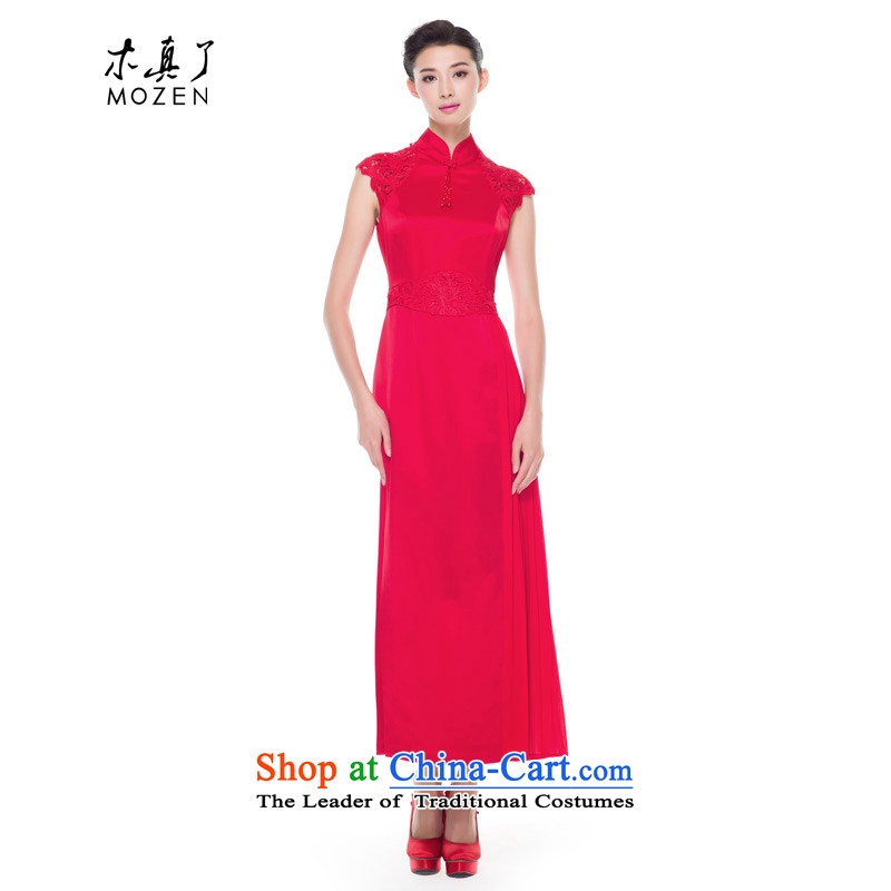 The 2015 autumn wood really new products water-soluble lace the heap into the marriage's bride qipao bows service wedding dress 53382 04 Magenta�XL