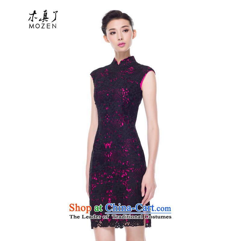 The 2015 autumn wood really new products water-soluble embroidery engraving cheongsam dress 43101 18 DEEPPINK燬