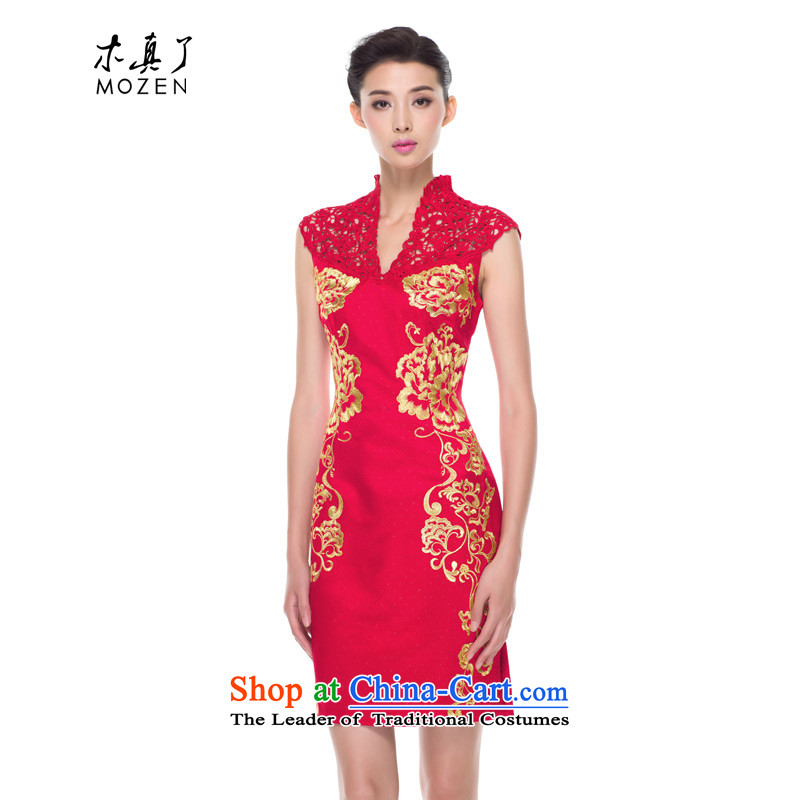 The 2015 autumn wood really new products embroidery engraving the ephod of Yun Jin qipao bride bows services marriage 42793 04 deep red聽S