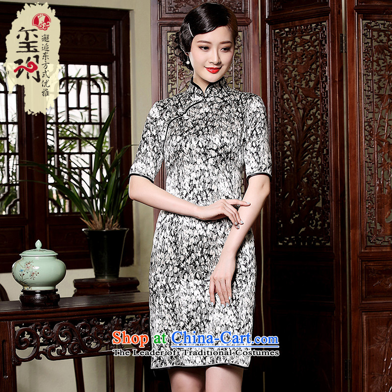 The fall of the new seal heavyweight Silk Cheongsam retro Shanghai elegant qipao aristocratic Ms. improved dresses picture color燣