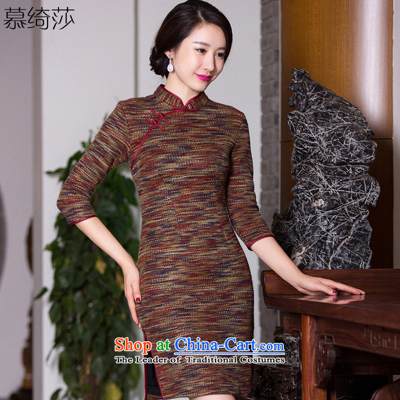 The cross-sa year 2015 gross? qipao knitting Fall_Winter Collections of nostalgia for the seven new skirt qipao cuff fashion, the elderly mother with Q 271 picture color S