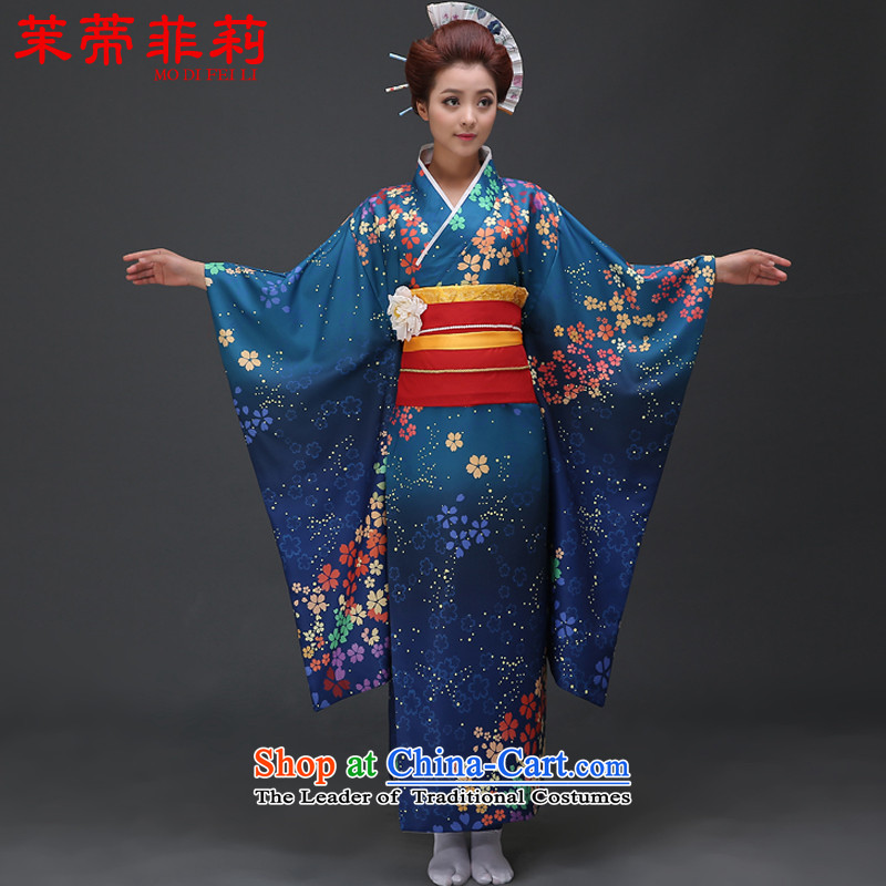 Energy tifi traditional Japanese kimono are Li Ms. loaded photo album improved version of kimono will set Blue燤