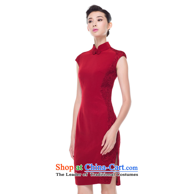The 2015 autumn wood really new products with double-side toasting champagne lace Bridal Services wedding-dress 53380 04 deep red聽wood really a , , , XL, online shopping