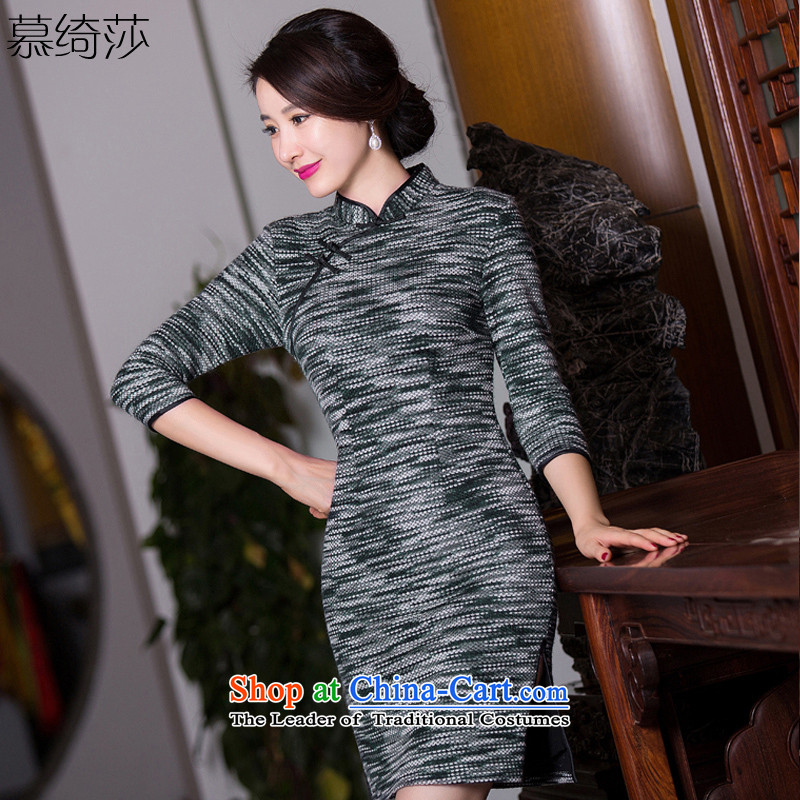 The cross-sa gray horse 2015 new knitting gross? Boxed retro style qipao autumn cheongsam dress improvement of 7 to the elderly in the Cuff Q272 qipao picture color S