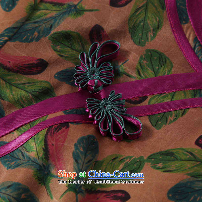 The Seal of birds Yu fall long incense cloud yarn long qipao daily silk 7 cuff dress dresses picture color聽XL, seal decreased by , , , shopping on the Internet