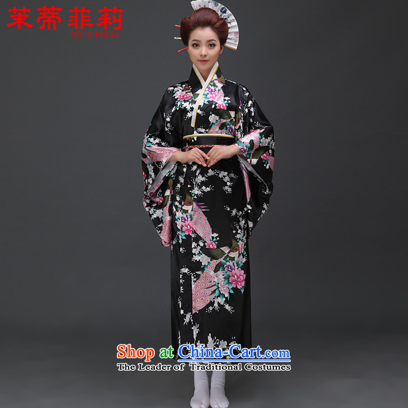 Energy Tifi Li Japanese kimonos is improved with female traditional stage costumes black L