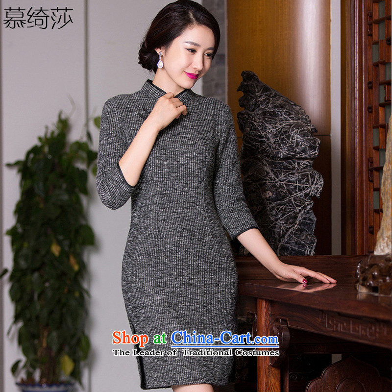 The cross-sa sentences in Arabic?2015 gross qipao autumn knitting? Boxed retro cheongsam dress new streaks 7 cuff stylish qipao?Q 273?pictures Ms. color?XL