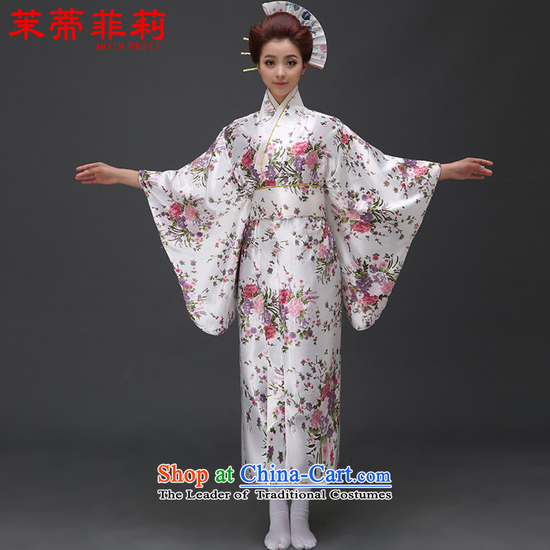 Energy Tifi Li Japanese kimonos new national lady Japanese cherry blossoms kimono temperament is stylish and will white�L