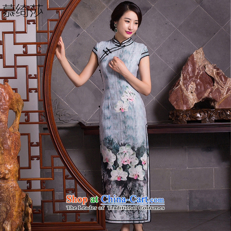 I should be grateful if you would have the cheer her night 2015 new long cheongsam with double elasticity of nostalgia for the autumn cheongsam dress new stylish cheongsam dress Q 274 picture color M