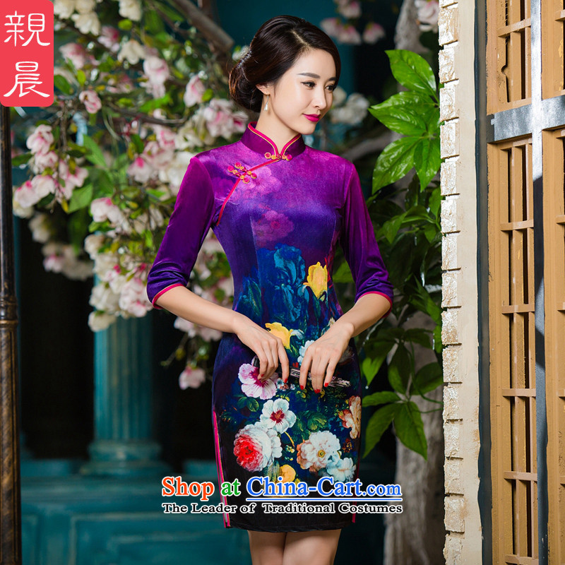 The wedding-dress in mother Kim scouring pads cheongsam dress older 2015 new upscale autumn wedding in replacing the sleeves in the skirt of short-sleeved aubergine?L