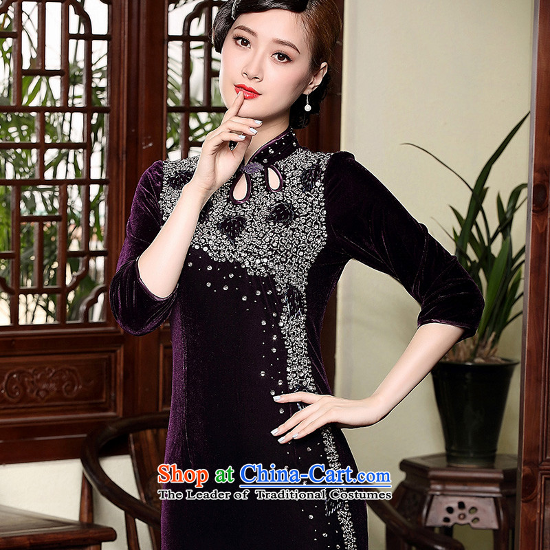 The Seal of autumn and winter new plush elegant qipao length of retro manually staple in the Pearl River Delta, Ms. Mama dress cuff purple M