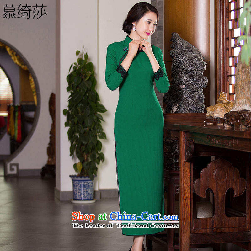 The cross-sa by?2015 Autumn Stylish retro-fitted in long qipao cheongsam dress new daily improved cheongsam dress?Q 276?green?XL