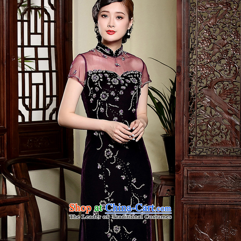 The fall of the new seal scouring pads manually staple-ju long qipao gown mother improved elegant reminiscent of the dresses purple?XXL
