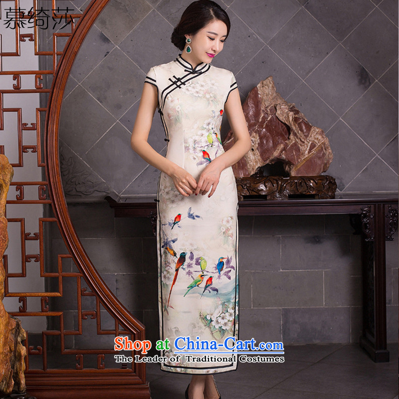 The cross-sa�15 Long qipao beep birds skirt the new boxed qipao Stylish retro autumn improved cheongsam dress cheongsam dress Q278 Ms. Light Yellow燲L