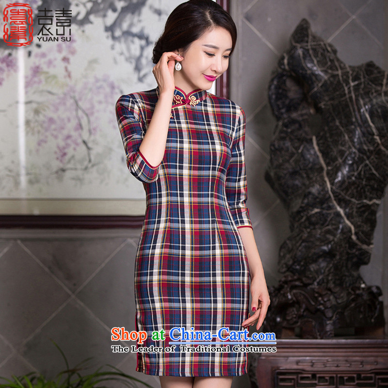 Mr YUEN of Circular 2015 new grid with retro style qipao autumn cheongsam dress in new cuff improved cheongsam dress QD100 LATTICES L