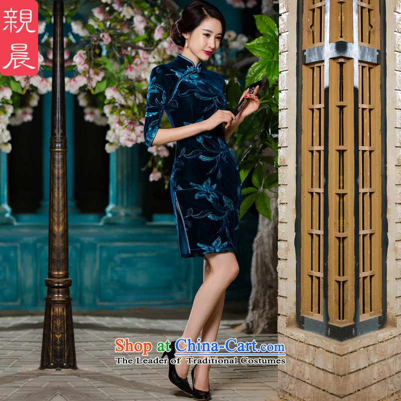 Kim In older mother velvet cheongsam with 2015 new fall short of upscale dresses in the wedding-dress code in large cuff short-sleeved blue green燿id not consider the ten days Shipment