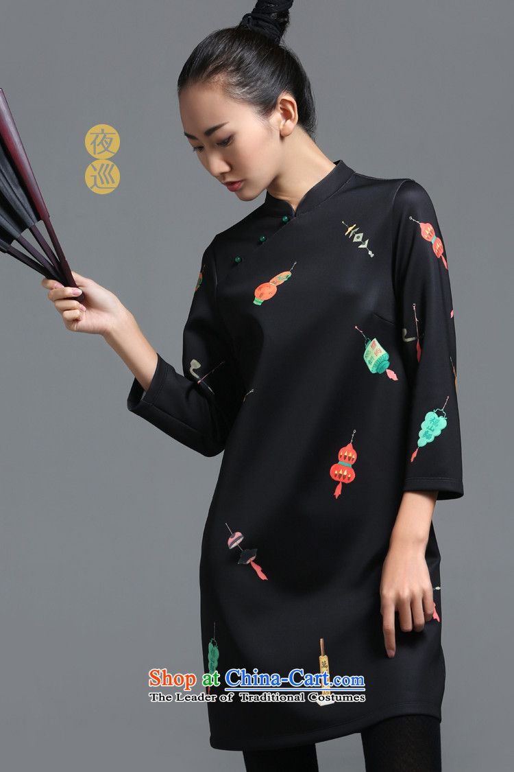 【 mustard original health night patrols/New Chinese collar ramp up the skirt China wind customized stamp improved long-sleeved autumn load female qipao qipao stamp Spot Image, the price and the xl brand platters! The elections are supplied in the national character of distribution, so action, buy now enjoy more preferential! As soon as possible.