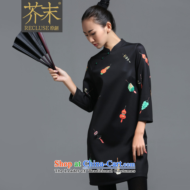 【 mustard original health night patrols_New Chinese collar ramp up the skirt China wind customized stamp improved long-sleeved autumn load female qipao qipao stamp spot xl