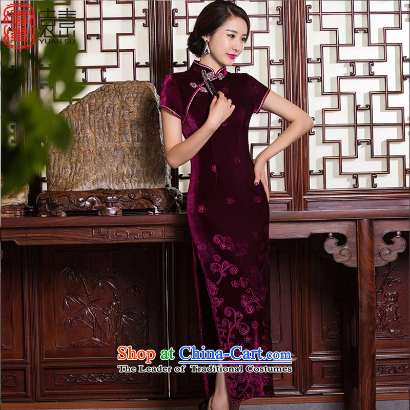 Yuan of Hsiukuluan?2015 new velvet cheongsam dress long antique style qipao gown of older Ms. qipao?QD268-9?deep red?XL