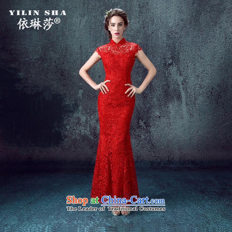 According to Lin Sha bows services 2015 new red qipao bride wedding dress lace Sau San long of Chinese women improved autumn and winter M