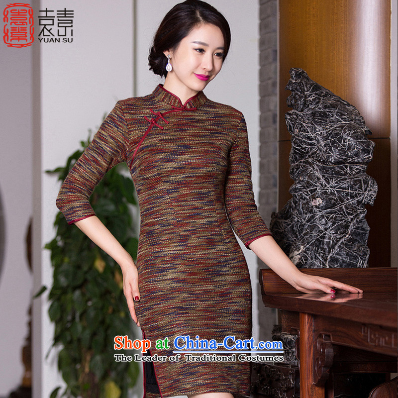 Yuan of?qipao autumn 2015 has a stylish retro fitted knitting dress qipao new 7 Ms. cuff improved cheongsam dress?QD271?picture color?M