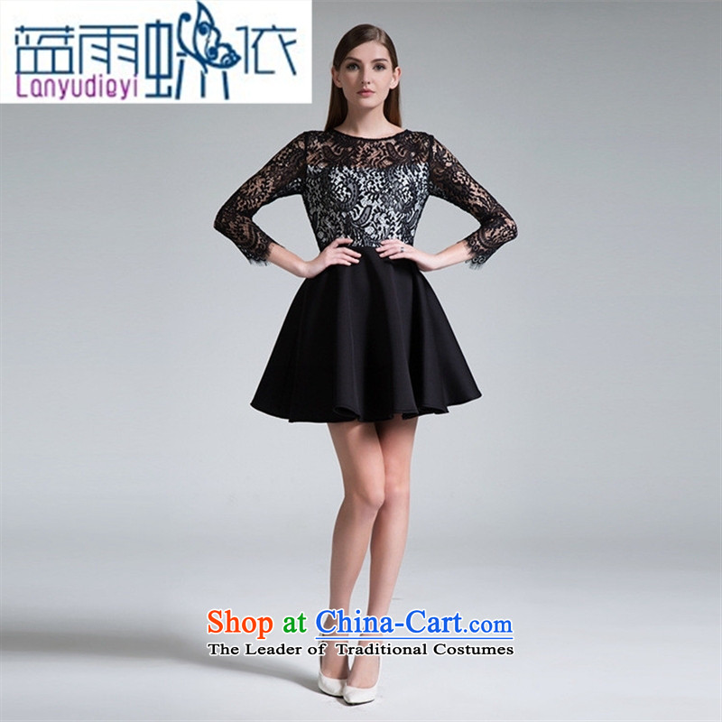 Ya-ting shop European station 2015 Autumn new black women's spell checker, lace skirt Fashion Sau San wild dresses picture color�M