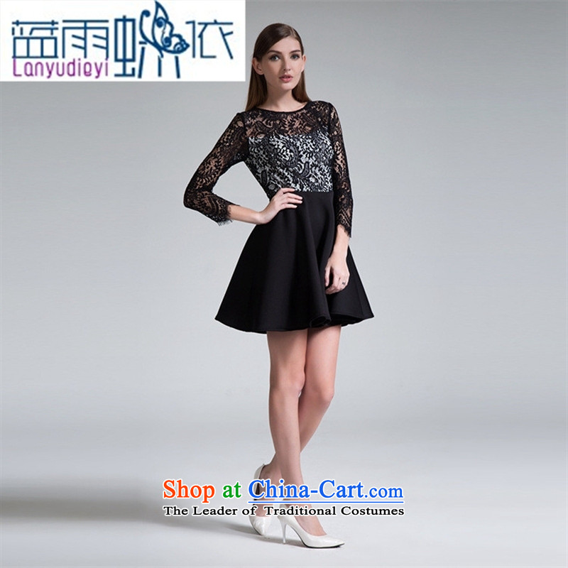 Ya-ting shop European station 2015 Autumn new black women's spell checker, lace skirt Fashion Sau San wild dresses picture color聽M Blue rain butterfly according to , , , shopping on the Internet