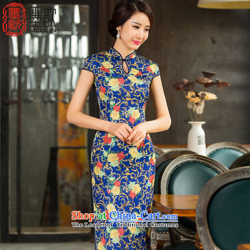 The fuser to 2015 retro 歆 improved long cheongsam with stylish long qipao autumn dress cheongsam dress T11014 new picture color XXL