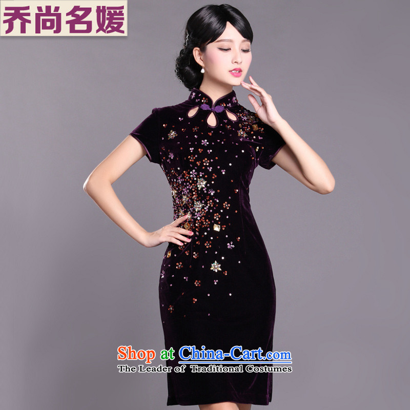 Joe was aristocratic Kim Choo skirt gathering scouring pads cheongsam dress in long SRDZ005 purple short-sleeved?L