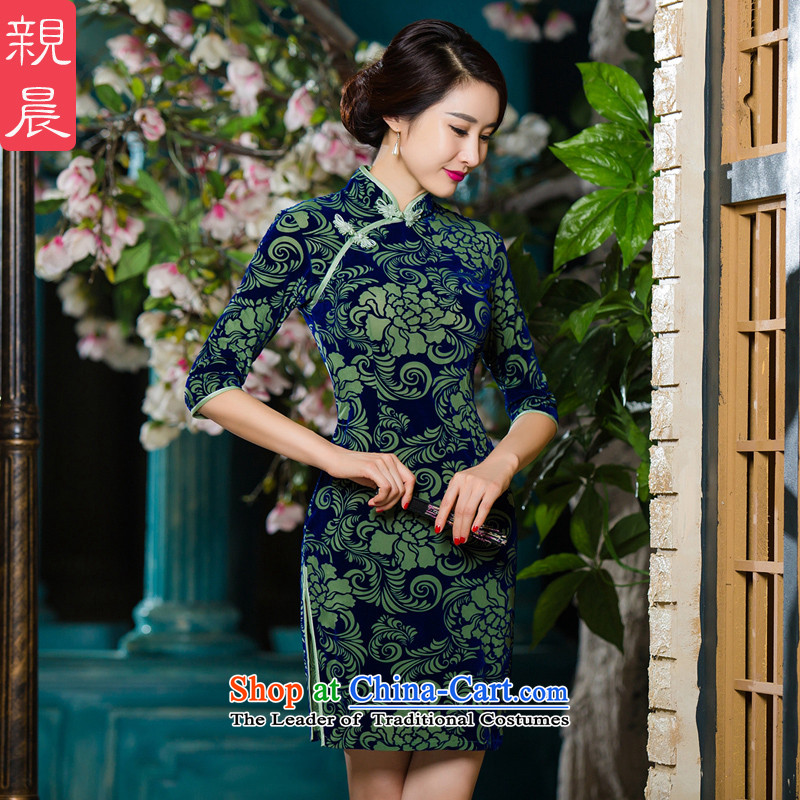 The wedding-dress in mother Kim scouring pads qipao older dresses autumn 2015 new upscale large wedding in short-sleeved green?2XL