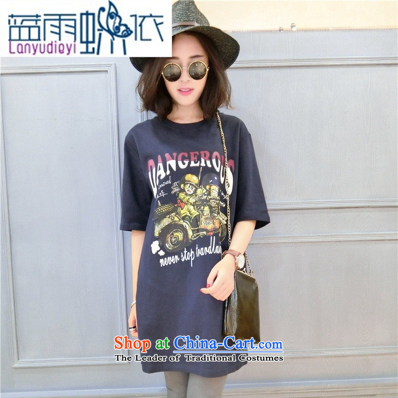 Ya-ting Shop Boxed new autumn 2015 Korean version of T-shirts, cuff round-neck collar loose long cartoon figure forming the Pure cotton T-shirts are black code