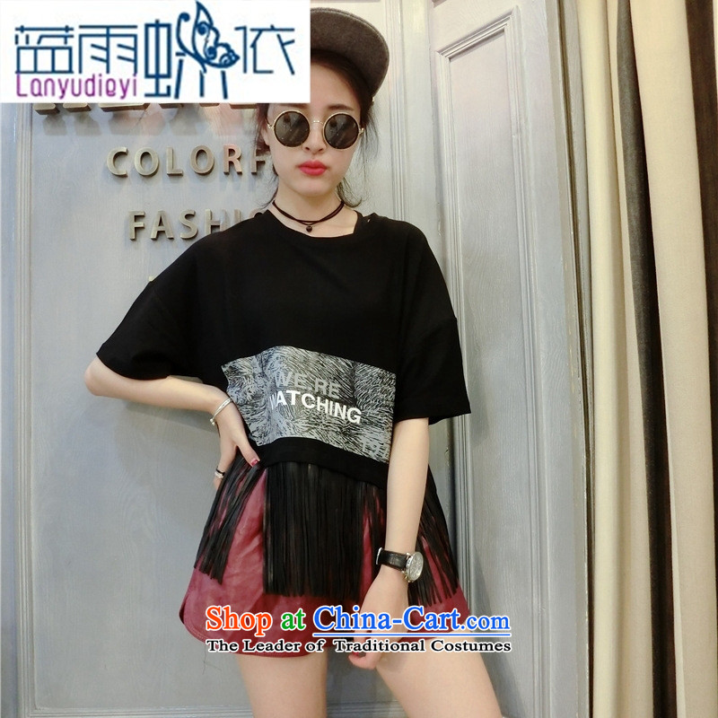 Shop 2015 Autumn Ya-ting new Korean female Pure cotton T-shirt with round collar edging letters loose short, short-sleeved T-shirt will gray