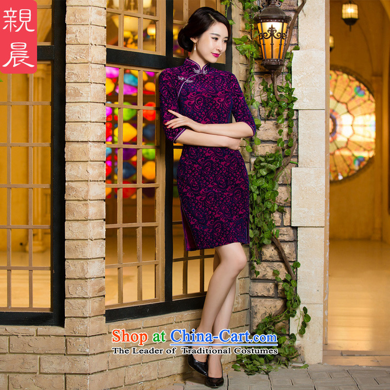 Replace high-mother wedding dresses in the elderly in the wool cuff of autumn and winter improved dresses large new short of the�-day shipment S--