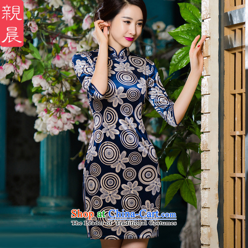 In mother Kim scouring pads qipao older dresses 2015 new fall in the larger cuff wedding dress wedding in short-sleeved_ Blue聽2XL
