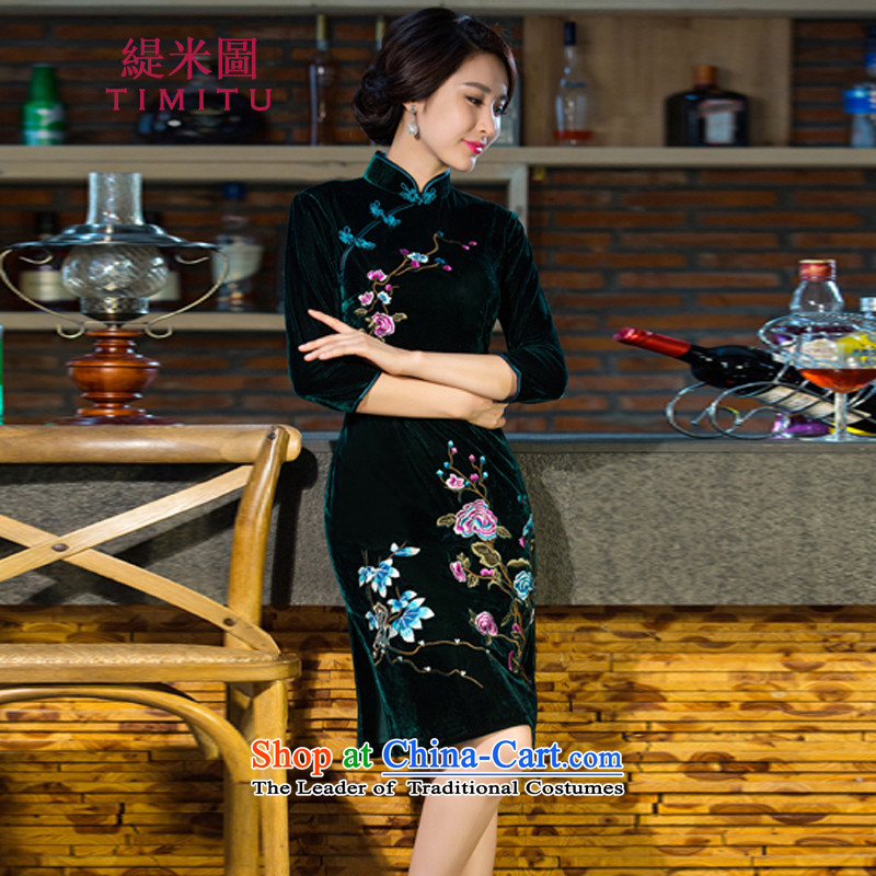 Economy figure for autumn and winter 2015 new moms with scouring pads in the skirt qipao Kim sleeve length_ Improved retro wedding green燤