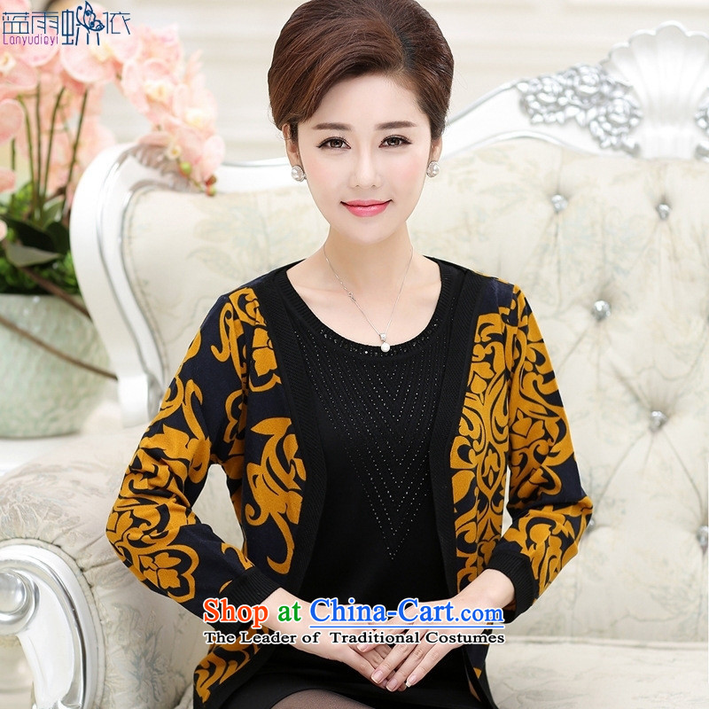 The elderly in the autumn 2015 installed MOM new round-neck collar in long-sleeved long-Sau San video thin female knitting cardigan yellow?120