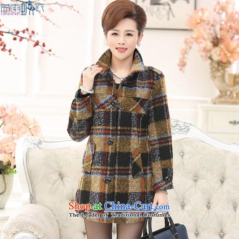 The elderly in the autumn and winter female cardigan jacket thick xl grid for winter load mother gross? jacket yellow?XXL