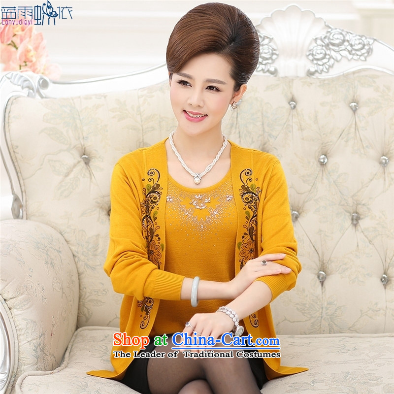 The autumn 2015 new middle-aged long-sleeved shirt large stamp in the number of older women's clothes true autumn two kits knitwear?115-XL Purple