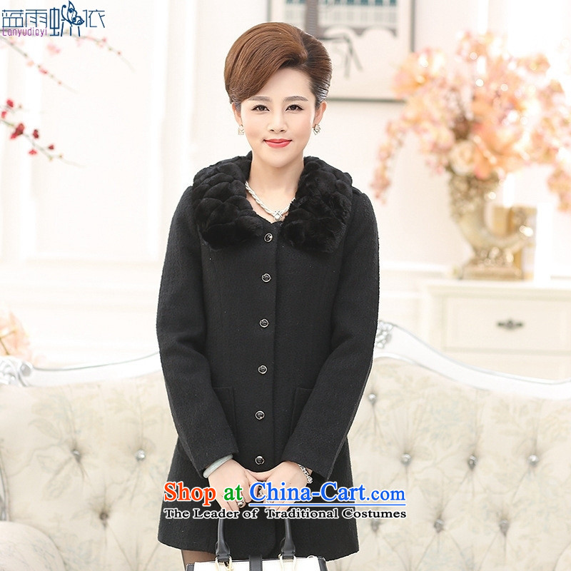 The elderly in the autumn and winter female Gross Gross for coat?   in pure color long MOM Pack Black聽XXXL temperament