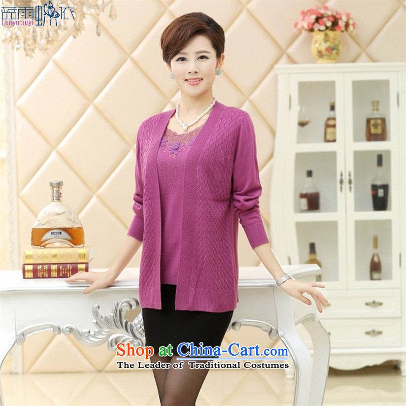 In 2015, the elderly woman fall inside the new mother load Drop-Needle LS really two embroidered jacket coat Violet�115