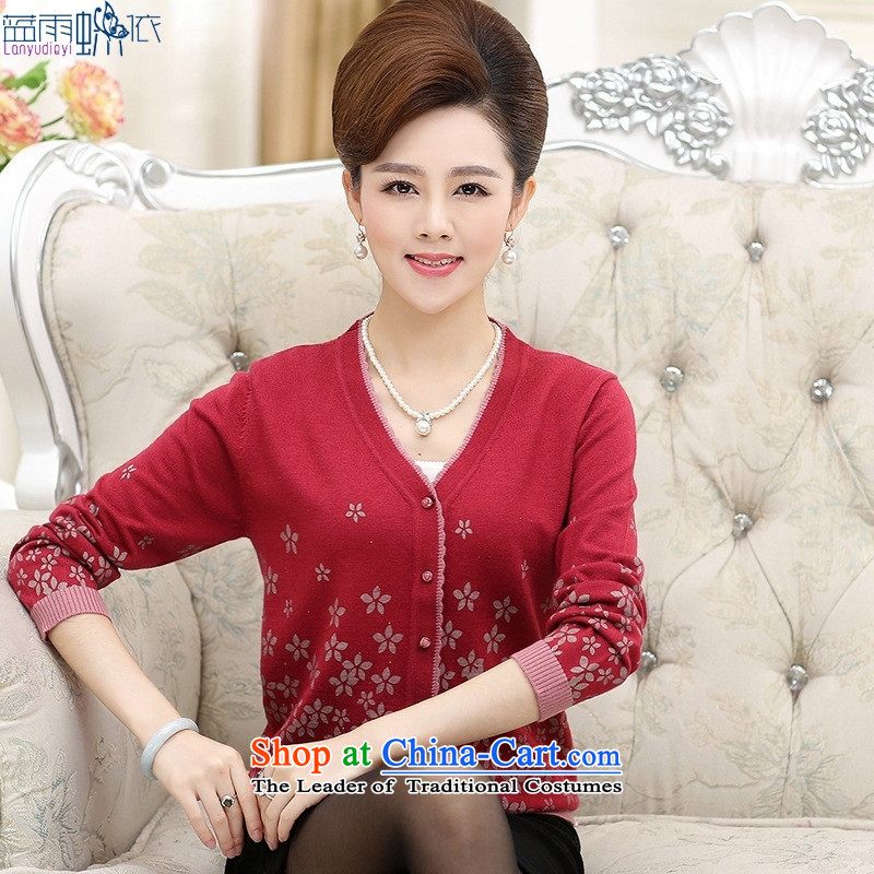 15 new fall in older V-Neck long-sleeved shirt mother cardigan knitted shirts and blouses and color?XXL