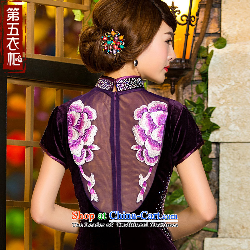 Eason Chan point cheongsam dress 2015 new fall back on short-sleeved short of embroidery Sau San video wedding scouring pads in the thin older MOM pack dress purple?XXL payment for about a week shipment