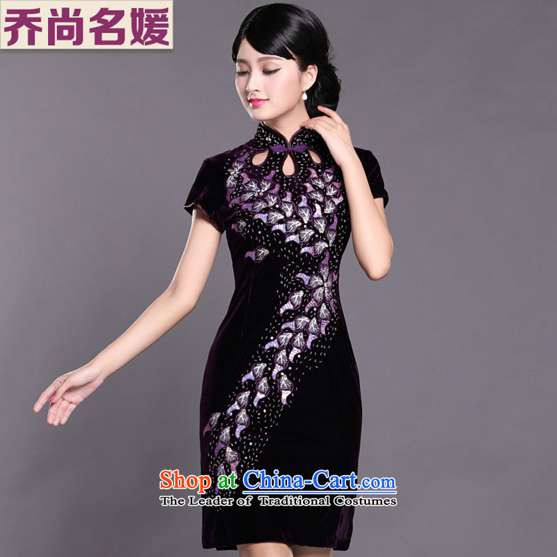 Joe was aristocratic Kim Choo skirt gathering scouring pads cheongsam dress in long SRXH001 purple short-sleeved?L