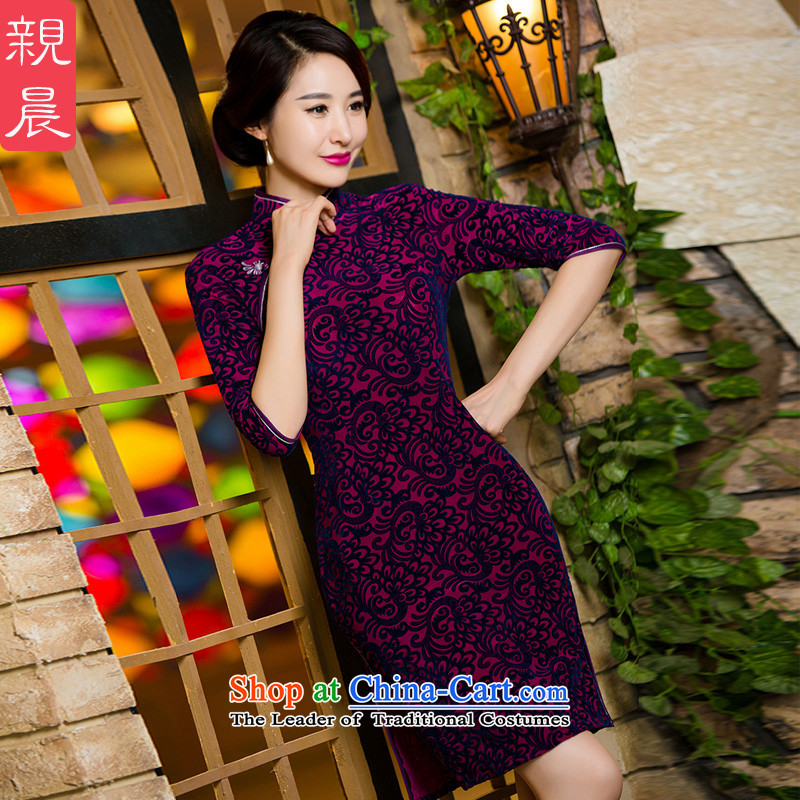 Wedding wedding dress mother Kim scouring pads qipao high load. In older cuff of autumn and winter improved dresses large new short of聽pro-am 2XL, shopping on the Internet has been pressed.