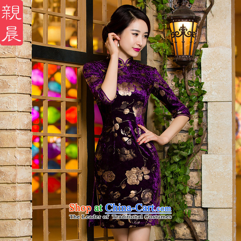 Upscale Kim scouring pads, short qipao retro wedding dress mother of autumn and winter load new daily improved dresses short_燬