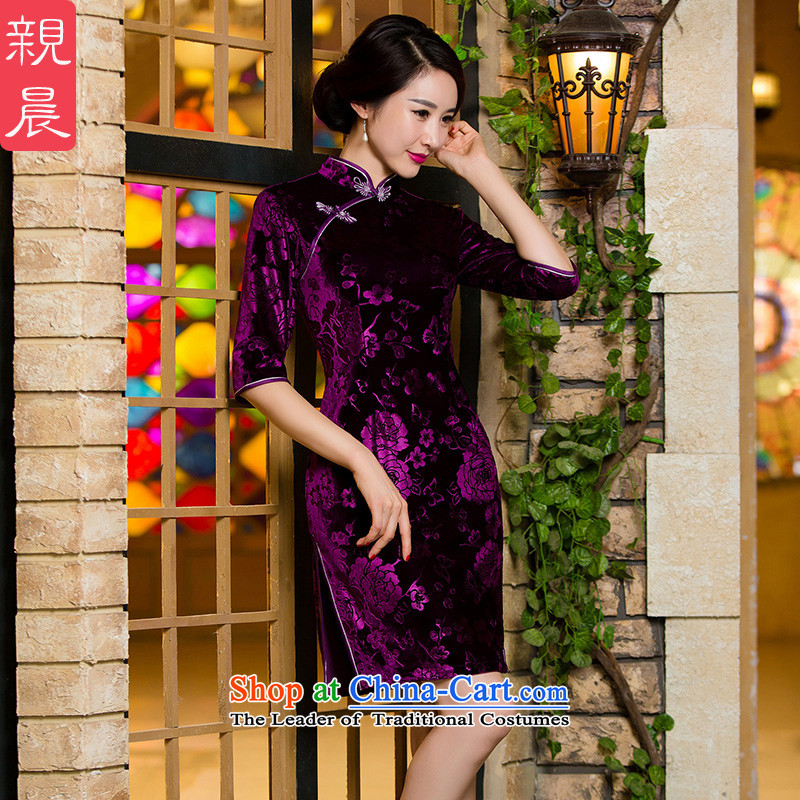 The wedding-dress mother with high Kim qipao retro short, scouring pads of autumn and winter in the elderly in the Cuff dresses new short of the?10-day shipment 2XL--