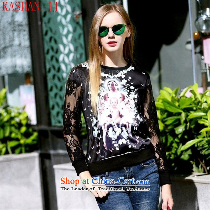 Mano-hwan's autumn 2015 new for women in Europe stamp sweater round-neck collar engraving gauze long-sleeved shirt black�M