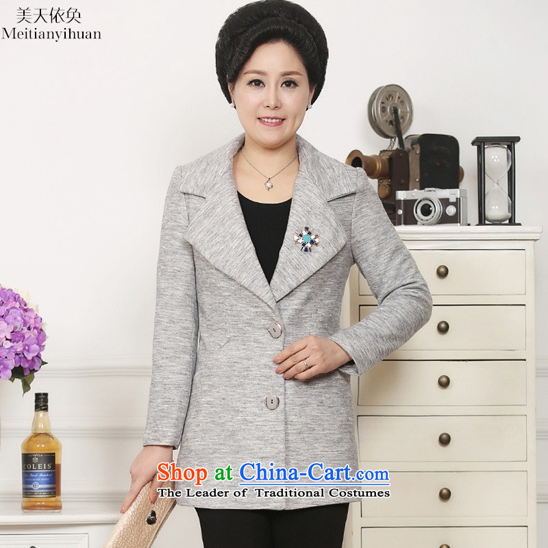 The autumn 2015 new moms with small business suit in spring and autumn women older_ long coats of autumn orange燲XXXL Jacket