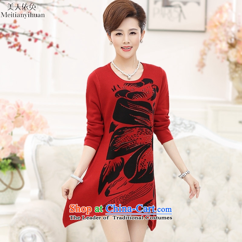 Middle-aged women Knitted Shirt long-sleeved mother of older women in the long load autumn Sweater Knit dresses Red�5