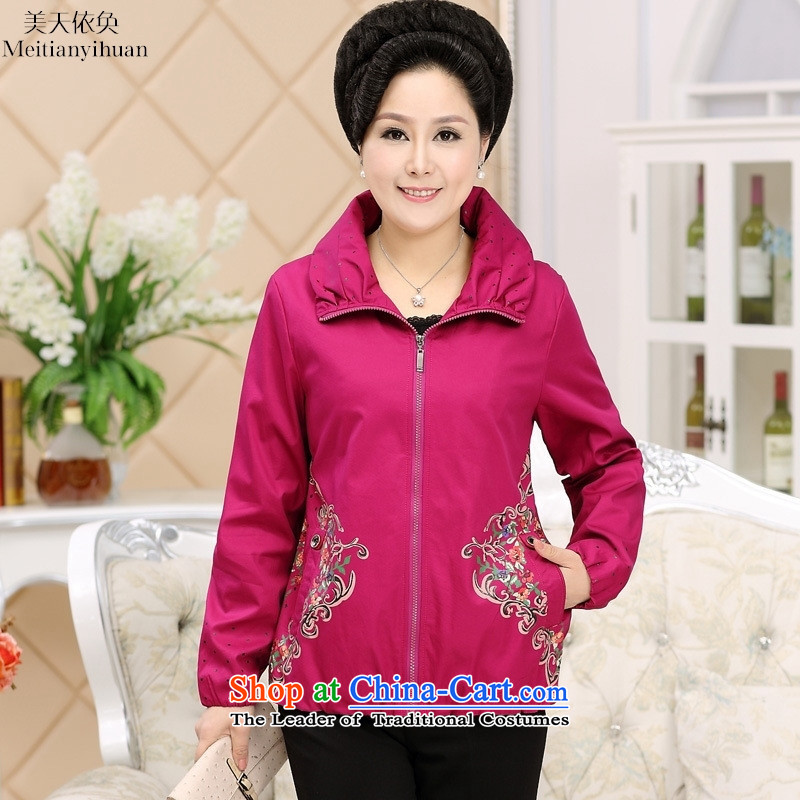 Older women's autumn in New jacket, older persons during the spring and autumn thin, clothes jacket elderly clothing red燲L